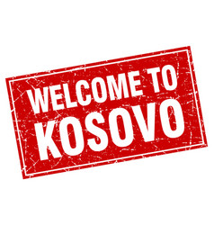 Kosovo red square grunge welcome to stamp vector