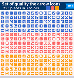 large set of white icons pointing in three colors vector image