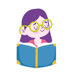little student girl with glasses reading book vector image