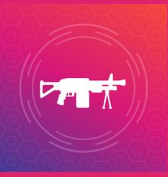 Machine gun automatic firearm icon vector
