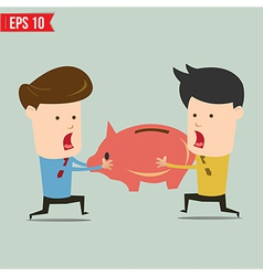 Man snatch Piggy bank - - EPS10 vector