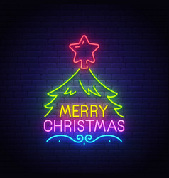 merry christmas neon text bright signboard vector image