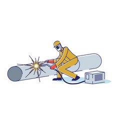 Metallurgical industry concept man welds pipe vector