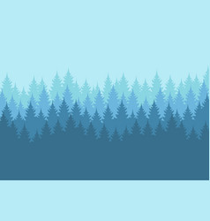 Misty forest landscape with detailed blue vector