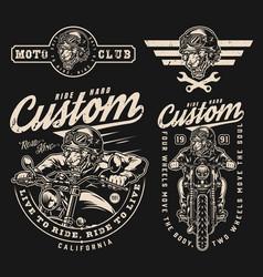 Motorcycle vintage monochrome badges vector