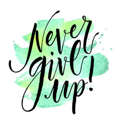 Never give up hand drawn inspirational quote vector