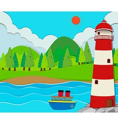 Ocean scene with lighthouse and ship vector image