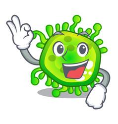 okay cartoon microba virus bacteria in body vector image