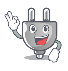 Okay power plug in the character shape vector