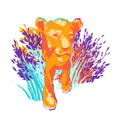 One lion cub or female lion walking out vector