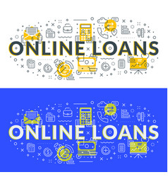 online loans flat line concept for web banner and vector image