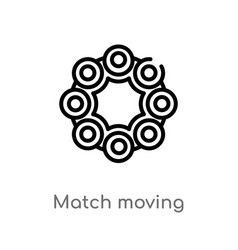 Outline match moving icon isolated black simple vector