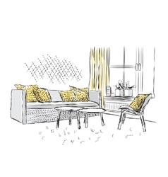 Outline sketch of a interior vector image