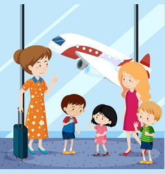 people at the airport with airplane in background vector image