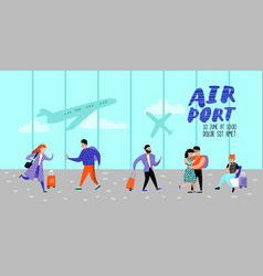 people traveling by plane characters in airport vector image