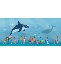 People watching underwater scenery with large vector