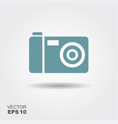 photo camera icon in flat style isolated on grey vector image