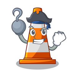 Pirate traffic cone on road cartoon shape vector