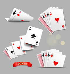 Playing cards four aces cards vector