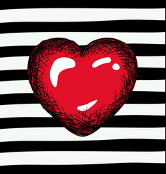 red heart sketch on pop art on black striped vector image