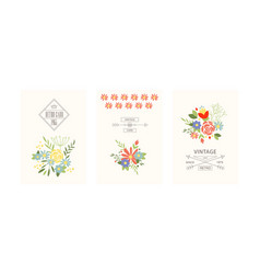 Retro cards with flowers set floral greeting vector
