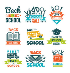 School labels set back to theme vector