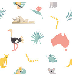 Seamless pattern australian landmarks and animals vector