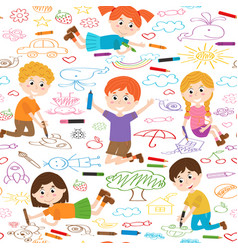 Seamless pattern with child art vector