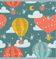 seamless pattern with cute bunny in hot air vector image