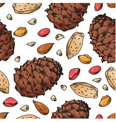 Seamless pattern with nuts and seeds vector