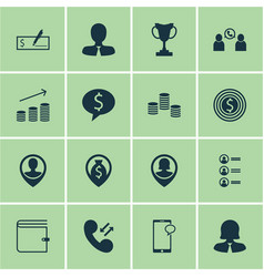 Set of 16 human resources icons includes phone vector