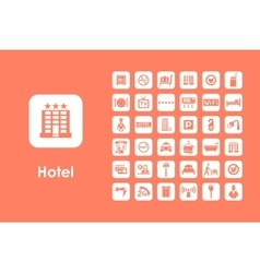Set of hotel simple icons vector