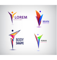 set of human leader logos geometric vector image
