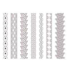 Set of paisley hand drawn henna tattoo borders vector image