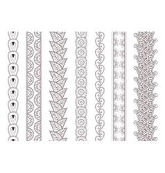 Set paisley hand drawn henna tattoo borders vector