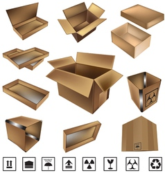 Shipping boxes and icons vector