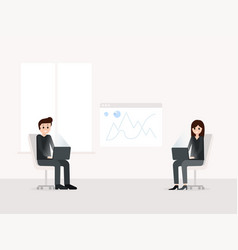 smiling man and woman working at workplace vector image