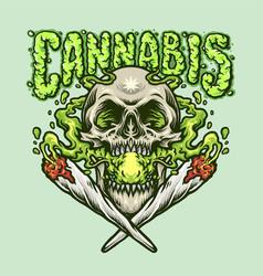 Smoking skull cannabis joint vector