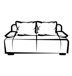 Sofa freehand drawing icon black and white vector image