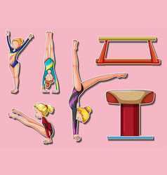 sticker design for gymnastic players and bars vector image