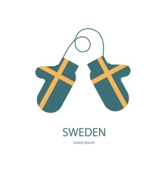 Sweden mitten with flag vector