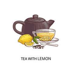 tea with lemon - cartoon drawing glass cup with vector image