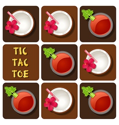 Tic-tac-toe tomato juice and coconut water vector