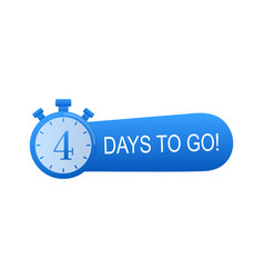 Timer with 4 days to go flat icon stock vector