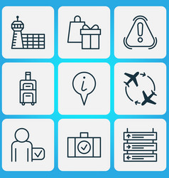 transportation icons set with passenger vector image