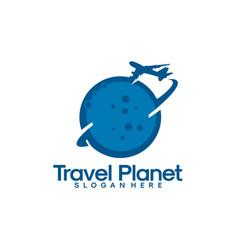 travel logo template travel planet logo designs vector image