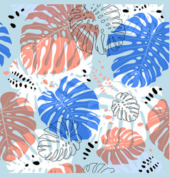 tropical monstera leaves pattern tropical vector image