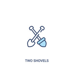 Two shovels concept 2 colored icon simple line vector