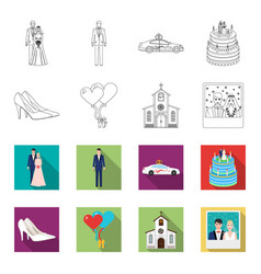 Wedding and attributes outlineflat icons in set vector