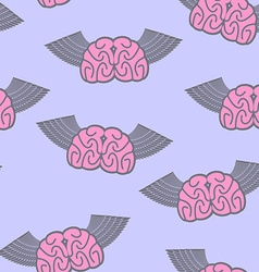 Winged brain seamless pattern Brain with wings vector image
